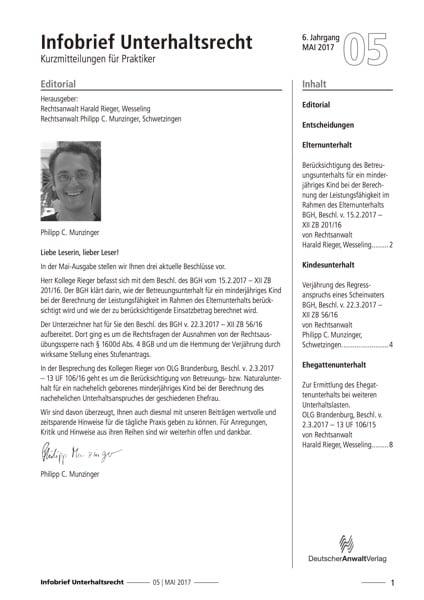 Infobrief Unterhaltsrecht
